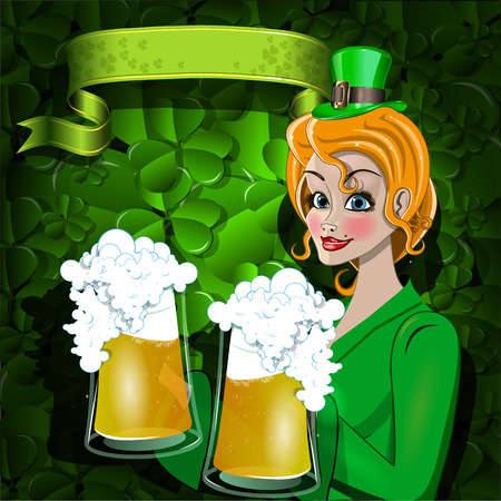 Illustration of a girl with two beer mugs