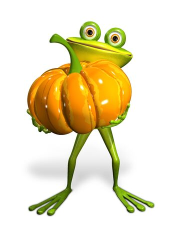 triton: 3d Illustration frog with a pumpkin on a white background Stock Photo