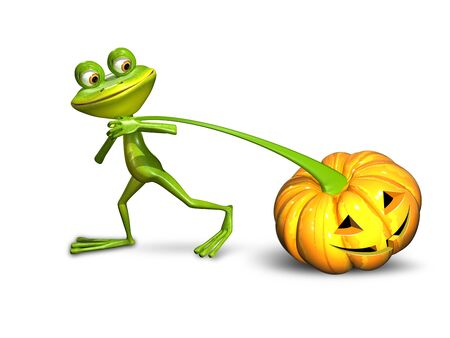 triton: 3d illustration of a frog pulling a pumpkin on a white background