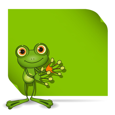 triton: Illustration of a green frog and a green background
