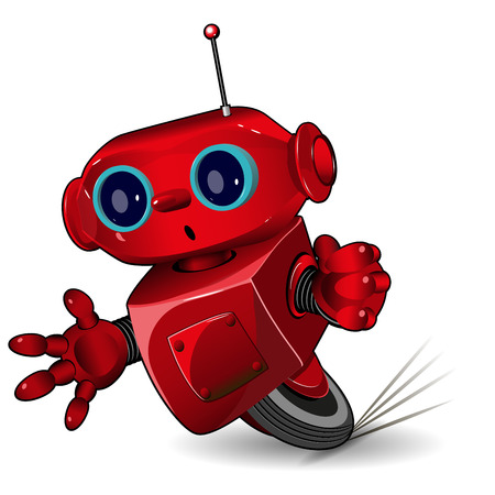 bend: Illustration red robot speed in a bend