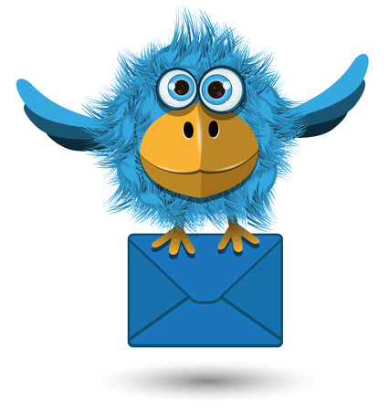 posted: Illustration of Blue Bird with a blue envelope