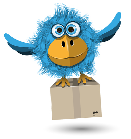 posted: Illustration of Blue Bird with a box