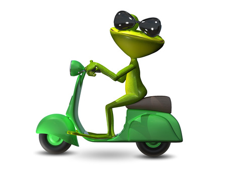 motor scooter: 3D Illustration of a green frog on a green motor scooter