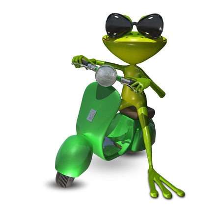 moped: 3D Illustration of a green frog on a motor scooter Stock Photo