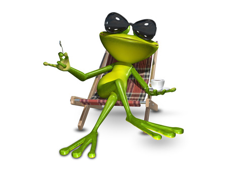 amphibious: 3d Illustration of a frog in a deck chair with a cup of coffee