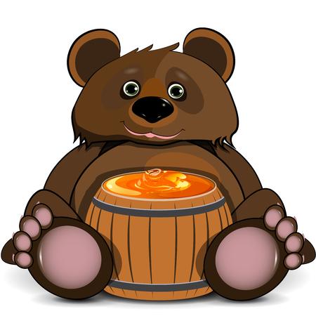 Illustration Bear with a Barrel of Honey Illustration