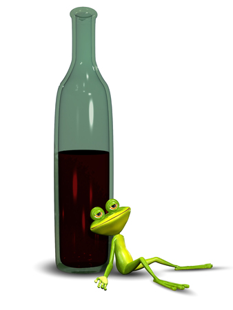 intoxication: 3D Illustration of a Frog Sitting Drunk in Bottles Stock Photo