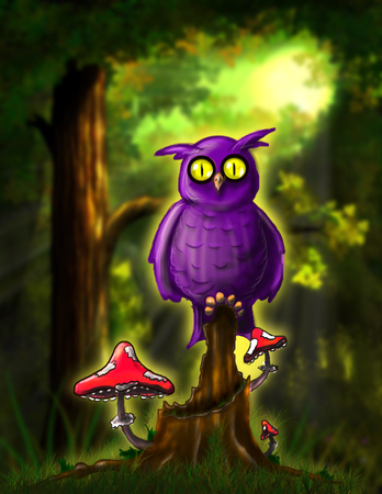 thickets: Illustration Open-Eyed Fairy Owl in the Forest