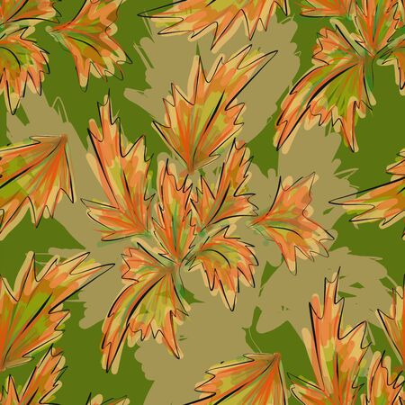 material flower: Illudtration Seamless Texture with Red Autumn Leaves Illustration
