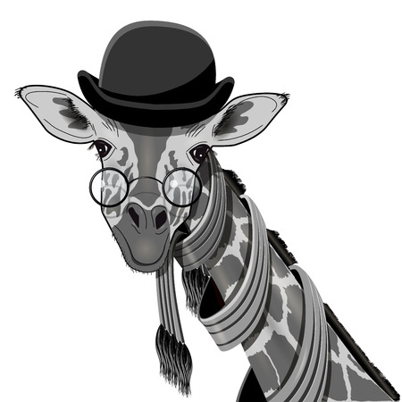 bowler hat: Illustration of a Giraffe with Glasses and a Bowler Hat