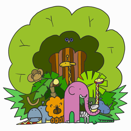 Illustration Company Cartoon Animals in the Jungle