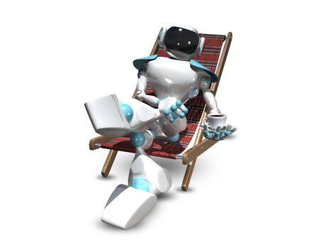 deckchair: 3D Illustration of a White Robot in a Deckchair