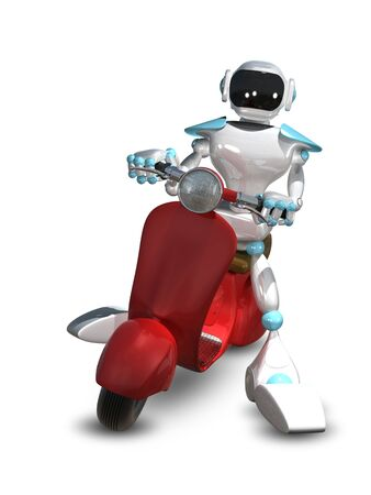 3D Illustration of a Robot on a Red Motor Scooter Stock Photo