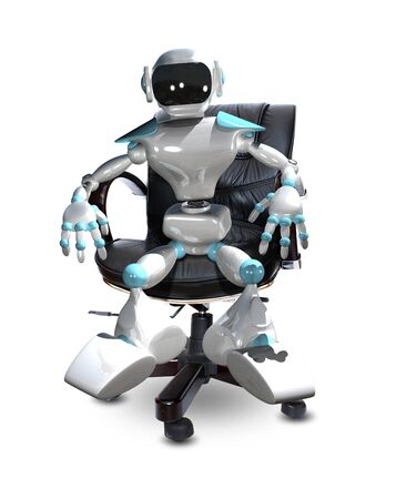 3D Illustration of a White Robot in a Chair Stock Photo