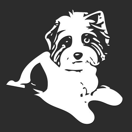 Illustration Figure White Dog on a Gray Background