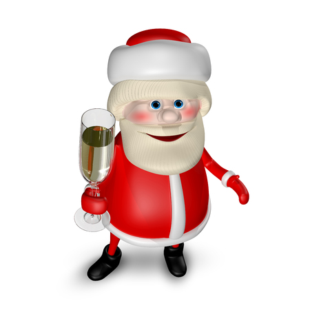 3D Illustration of Santa Claus with a Glass of Champagne Stock Photo