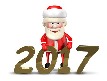 revelry: 3D Illustration Jolly Santa Claus on a White Background