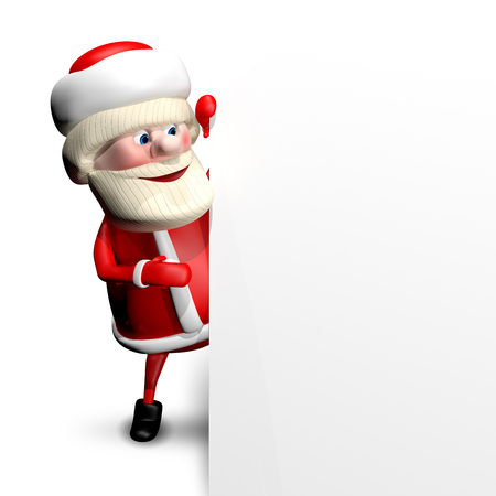 revelry: 3D Illustration Jolly Santa Claus with a White Background Stock Photo