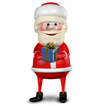 revelry: 3D Illustration of Santa Claus with Gifts on a White Background Stock Photo