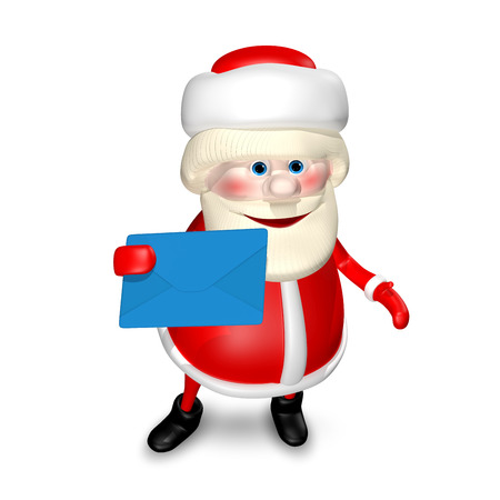 revelry: 3D Illustration of Santa Claus with Blue Envelope