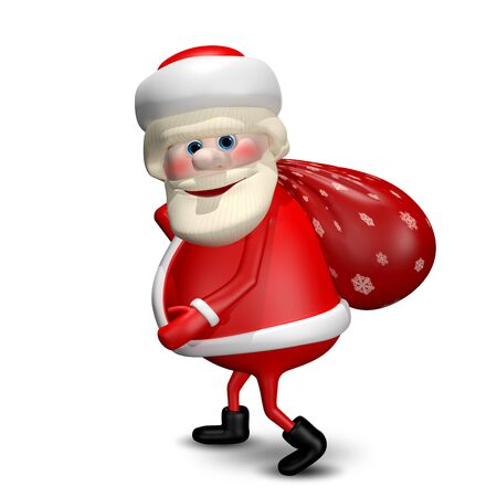 revelry: 3D Illustration of Santa Claus with a Red Bag Stock Photo