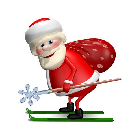 revelry: 3D Illustration of Santa Claus with a Bag by Ski with Staff Stock Photo