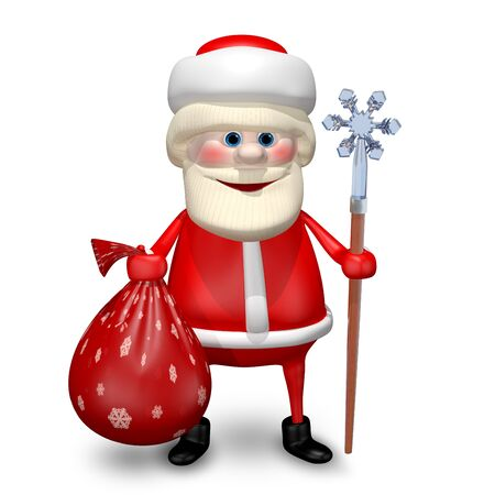 revelry: 3D Illustration of Santa Claus with Bag and Staff Stock Photo