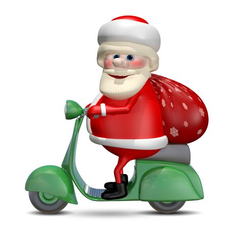 revelry: 3D Illustration of Santa Claus on a Green Motor Scooter