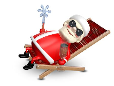 revelry: 3D Illustration of Santa Claus with a Glass of Champagne in a Deckchair
