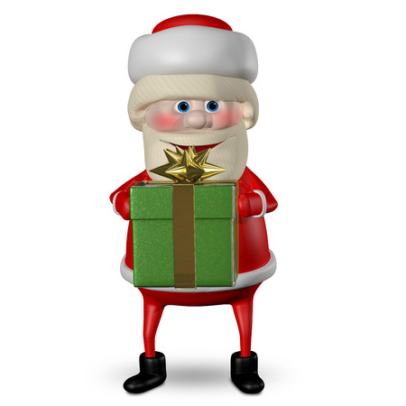 revelry: 3D Illustration of Santa Claus with Green Gifts Box Stock Photo