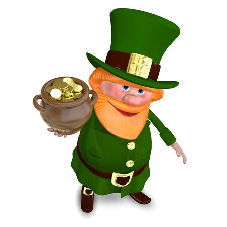 3D Illustration of Saint Patrick Raises Pot of Gold
