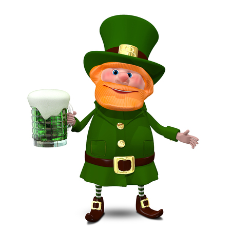 3D Illustration of Saint Patrick with Green Beer