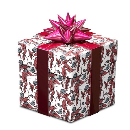 gift pattern: 3D Illustration of a Gift with a Pattern and Red Ribbon