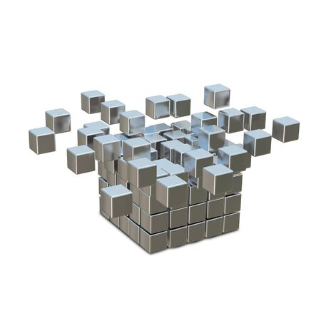 magnetic clip: 3D Illustration Collapsible and Destruction Metal Cube Stock Photo
