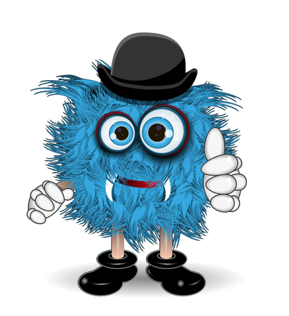 surprisingly: Illustration Blue Monster in the Black Hat Illustration
