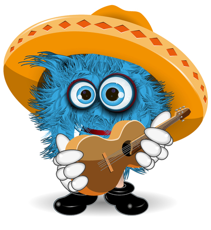 red eye: Illustration Blue Monster in Sombrero with Guitar