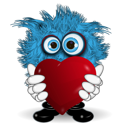 surprisingly: Illustration Blue Monster Keeps Red Symbol Heart