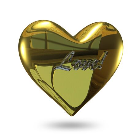 eternity: 3D Illustration of a Heart of Gold with an Inscription on a White Background