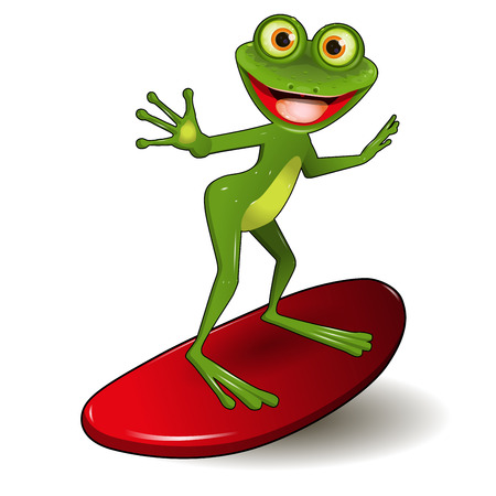 brooding: Stock Illustration Cheerful Green Frog Surfer on a Red Surf