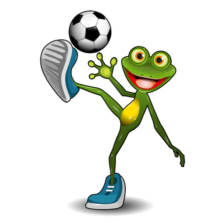 Ilustración de la rana verde con un balón de fútbol Foto de archivo - 74863277