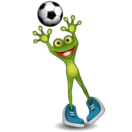 amphibian: Illustration Green Frog Goalkeeper with a Soccer Ball