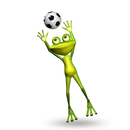 amphibious: 3D Illustration Green Frog with a Soccer Ball