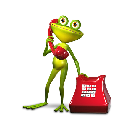 amphibious: 3d Illustration Green Frog with Red Phone
