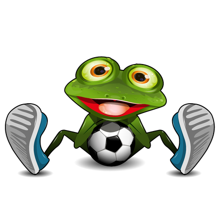 amphibious: Illustration Green Frog Sitting with a Soccer Ball