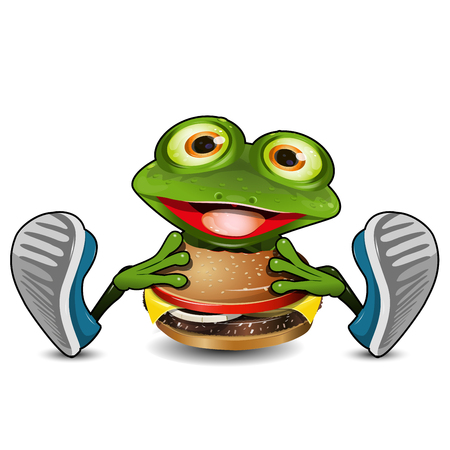 Illustration Cheerful Green Frog Eats Cheeseburger on a White Background Illustration