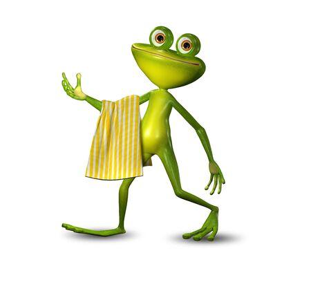 黄色タオルで歩く緑のカエルの 3 d イラストレーション