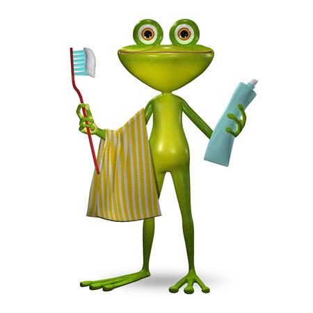 3 d イラスト カエル歯磨き粉を歯をきれいに 写真素材