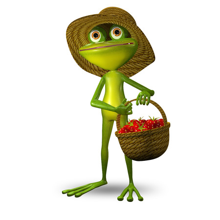 3D Illustration Green Frog with Strawberry Basket