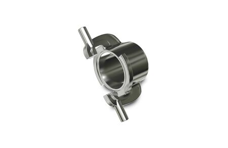 coupling: 3d illustration Metallic Chrome Plated Industrial Part Stock Photo
